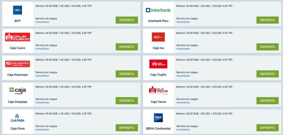 bancos peruanos en 1xbet peru