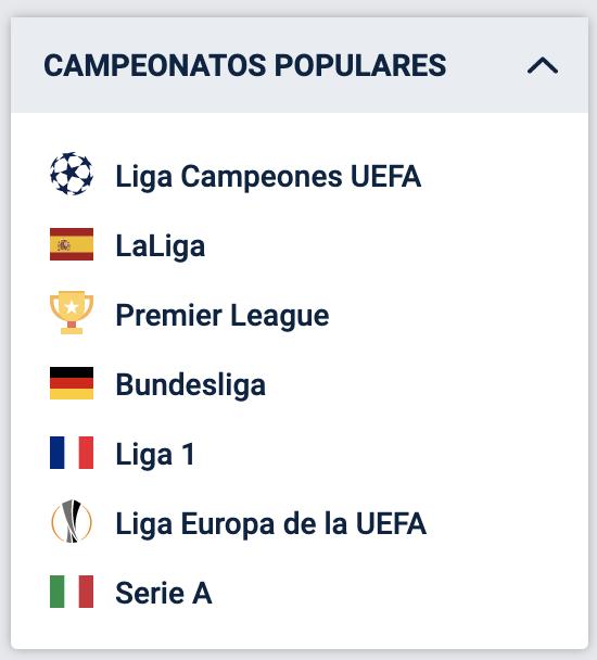 Campeonatos populares en 20bet